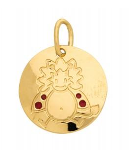 Pendentif Médaille Or Jaune 375-000 Signe du Zodiaque Coccinelle Lion