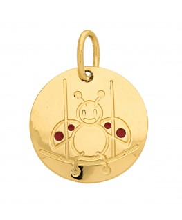 Pendentif Médaille Or Jaune 375-000 Signe du Zodiaque Coccinelle Balance