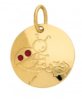 Pendentif Médaille Or Jaune 375-000 Signe du Zodiaque Coccinelle Scorpion