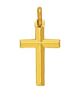 Pendentif Croix Or Jaune 375-000 Fil Biseauté