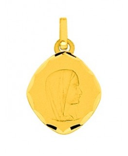 MEDAILLE OR OVALE VIERGE DIAMANTE STRIE