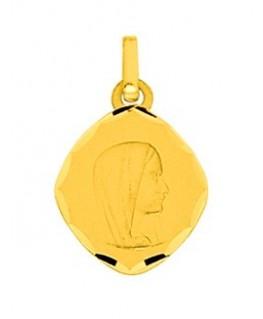 Médaille Or Jaune 375-000 Plaque Ovale Diamanté Striée Vierge Marie