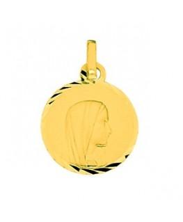 Médaille Or Jaune 375-000 Plaque Ronde Diamantée Vierge Marie