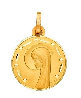 Médaille Or Jaune 750/1000 Plaque Ronde Diamantée Vierge Marie Profil Gauche